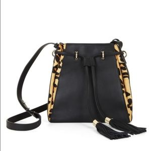 BCBGMaxAzria Kinsley Cheetah Leather Bucket Bag